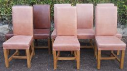 Set oi Eight Leather & Oak Dining Chairs